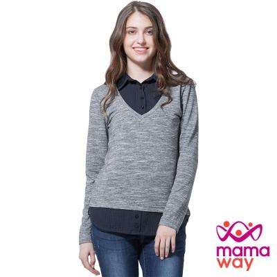 孕婦裝 哺乳衣 襯衫V領假兩件孕哺上衣(共二色) Mamaway