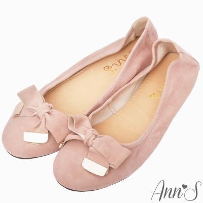 Ann'S輕膚系列-細柔羊麂皮蝴蝶結平底娃娃鞋-粉