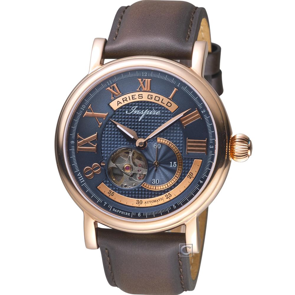 Aries Gold 雅力士 領航者系列 機械腕錶-藍x玫瑰金色/43mm