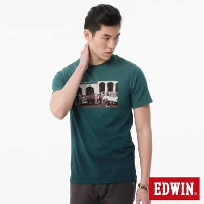 EDWIN T恤 IN EDWIN後染T恤-男-橄欖綠