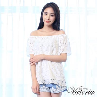 Victoria 鬆緊帶平肩式拉克蘭短袖T-女-白蕾絲