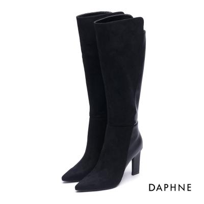 達芙妮DAPHNE 長靴-拼接線條絨布造型鞋跟長靴-黑