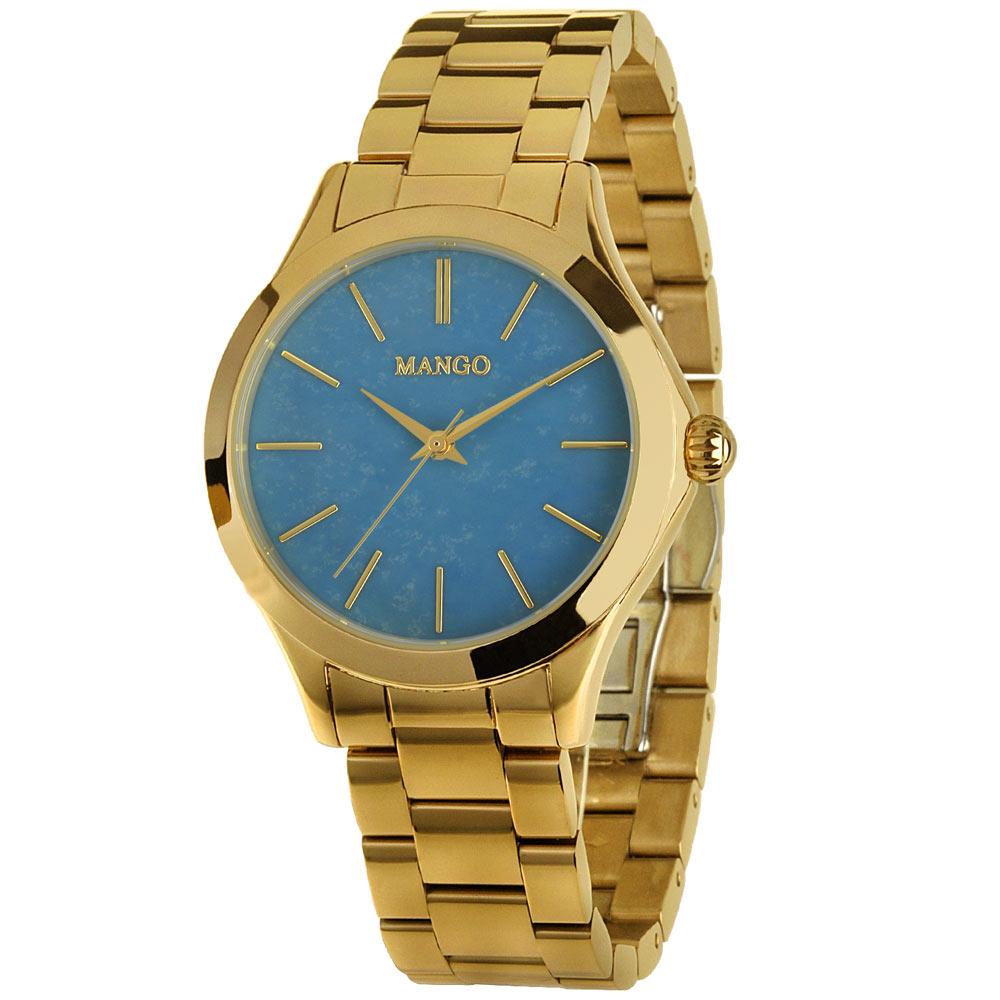 MANGO 飛舞輕揚不鏽鋼時尚腕錶-藍/35mm