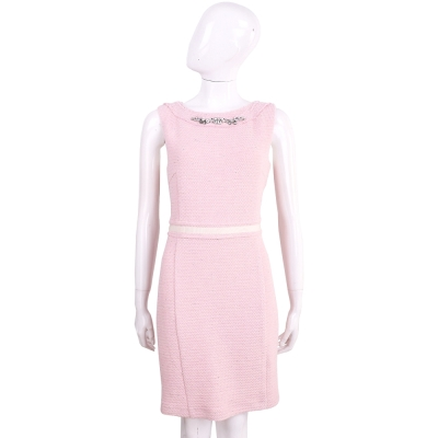 BLUGIRL 粉色鑽領織紋毛呢無袖洋裝