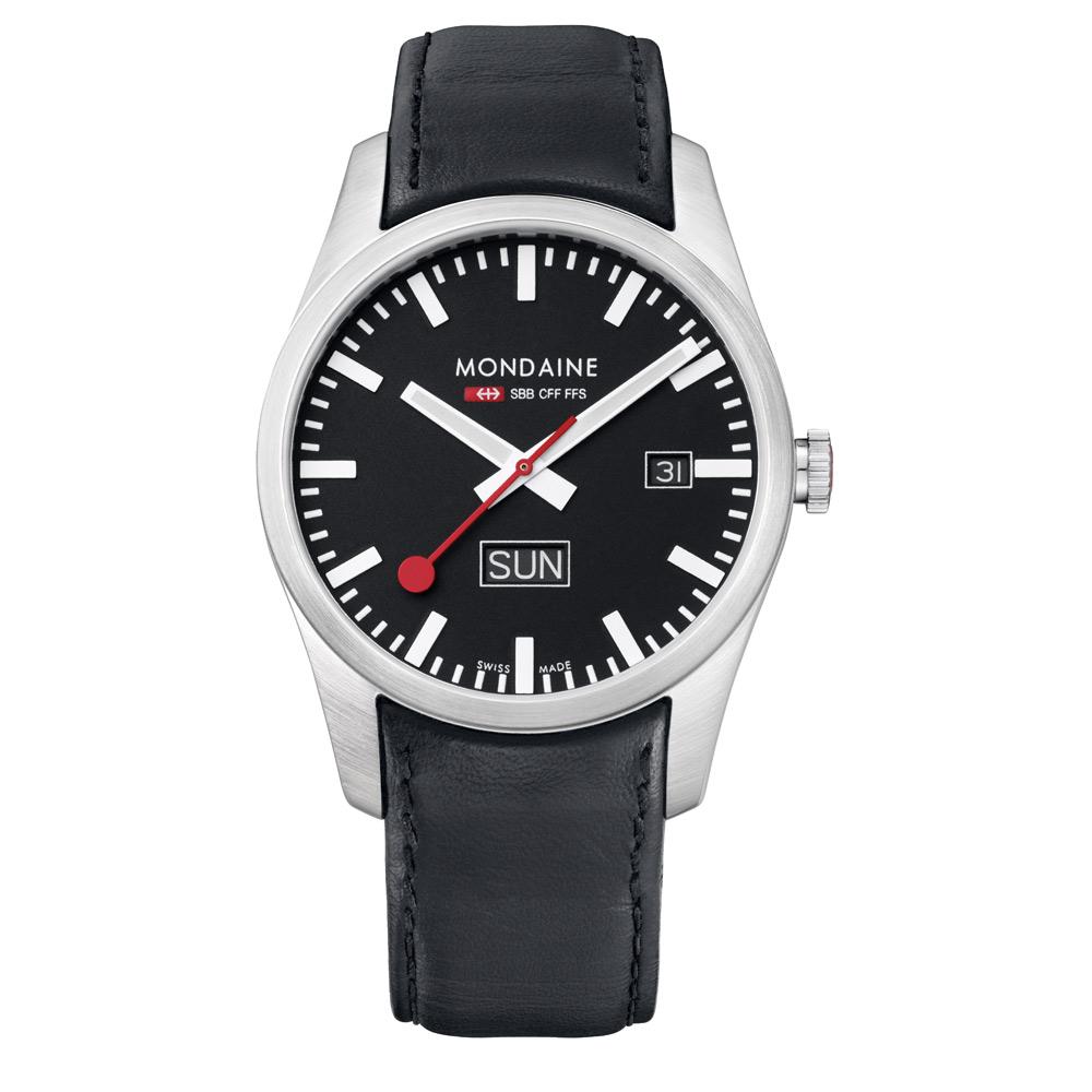 MONDAINE 瑞士國鐵 藍寶石水晶雙視窗腕錶-黑/40mm