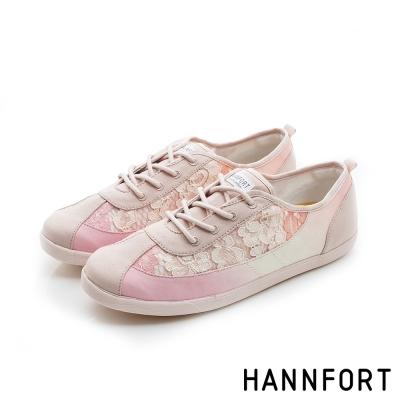 HANNFORT CALIFORNIA蕾絲布氣墊休閒鞋-女-嫩橘粉8H