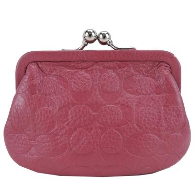 COACH-C-LOGO-壓紋皮革珠釦零錢包-粉桃