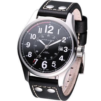 HAMILTON Khaki Officer 飛行員機械腕錶-皮帶款/44mm