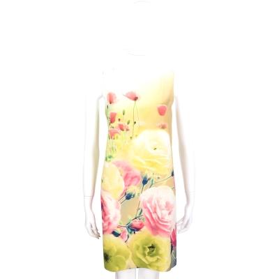 MOSCHINO 米白色花卉圖騰印染無袖洋裝
