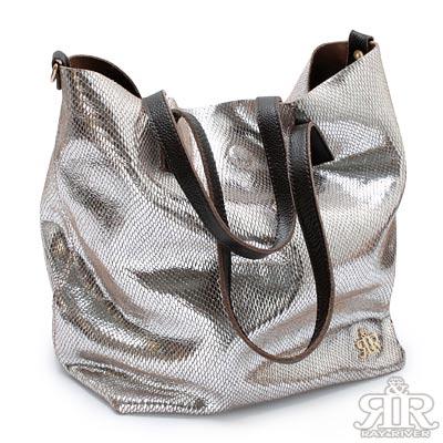 【2R】釋放魅力Style牛皮金屬包(晶亮銀)