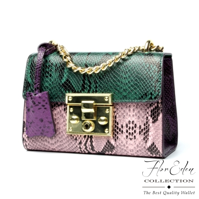 DF Flor Eden - 時尚色彩學蛇紋款牛皮斜背小方包-共2色