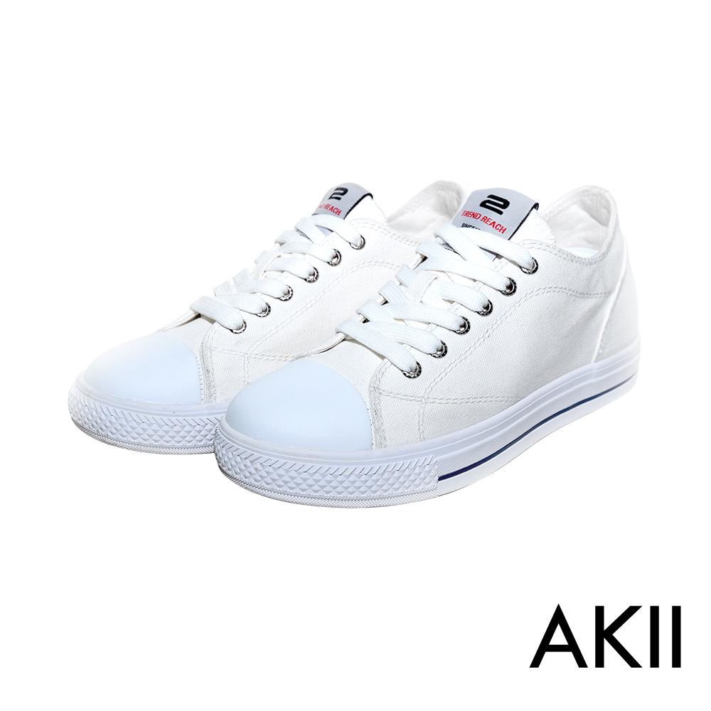 AKII韓國空運 百搭帆布隱形氣墊增高鞋 7CM 白