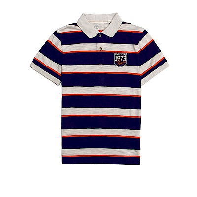 Timberland 男款藍色粗條紋布章短袖POLO衫