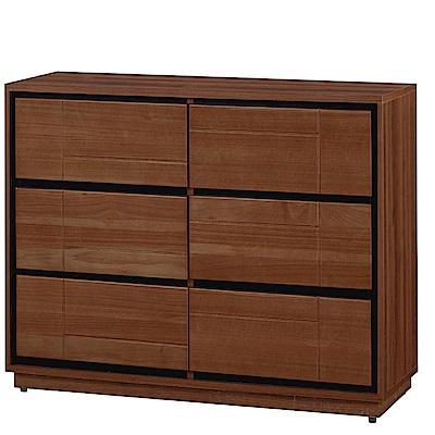 品家居 維莉3.8尺胡桃木紋實木六斗櫃-115x49x76cm免組