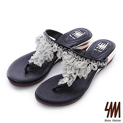 SM-晶鑽系列-金色葉女神夾腳中低楔型拖鞋-黑色