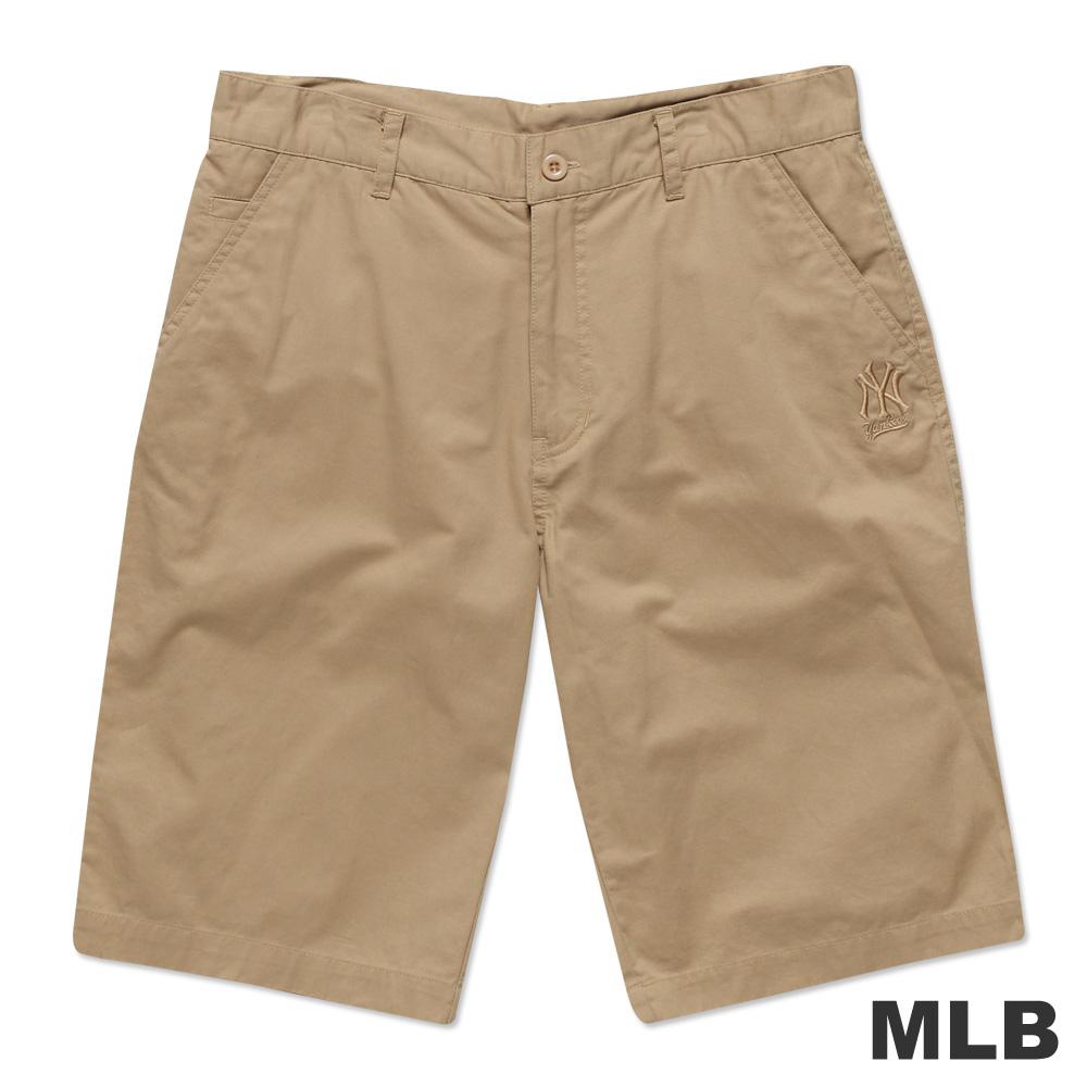 MLB-紐約洋基隊LOGO休閒水洗短褲-淺卡其(男)