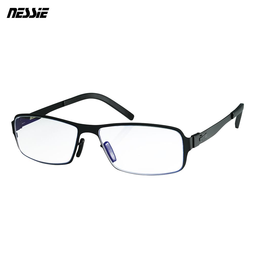 Nessie 尼斯 濾藍光眼鏡 薄鋼 薄墨黑