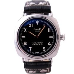 FIBER 法柏加州面盤鐵道手動上鍊機械腕錶-黑/42mm
