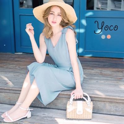 東京著衣-yoco 法式浪漫V領打褶口袋連身褲-S.M.L(共二色)