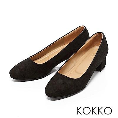 KOKKO-復古美學方頭真皮粗跟鞋-麂皮黑