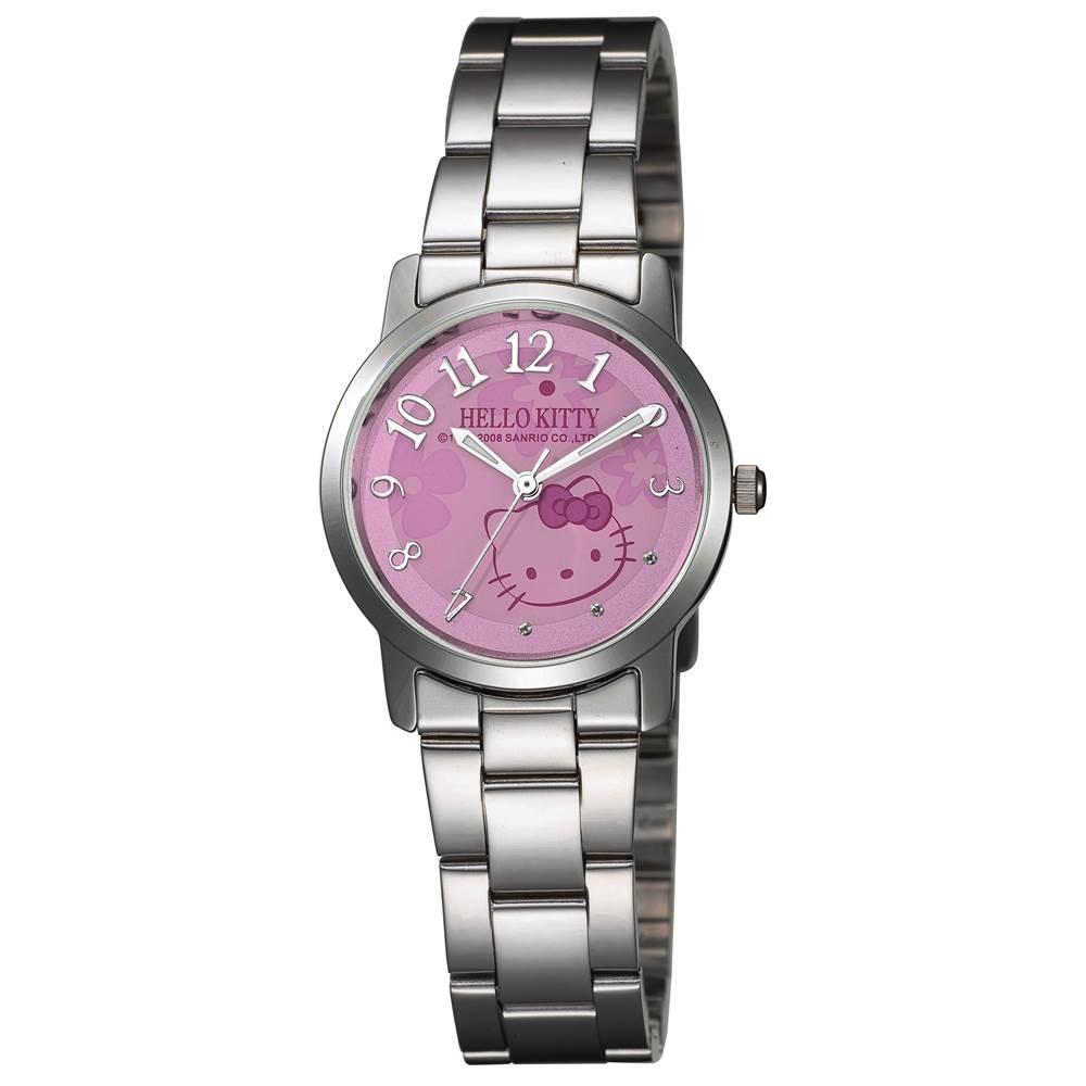 HELLO KITTY凱蒂貓俏皮小花時尚腕錶 紫色