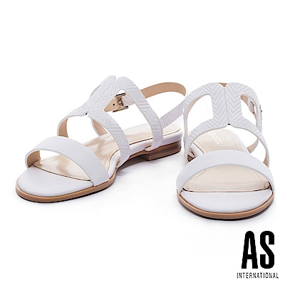 涼鞋 AS 清新雅緻編織壓紋牛皮條帶平底涼鞋-白