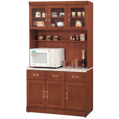 時尚屋艾菲爾柚木4尺石面碗碟櫃組