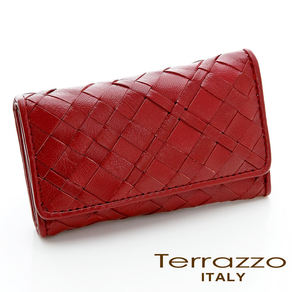 義大利Terrazzo - 小羊皮手工編織菱格紋鑰匙包-紅色75G2278A