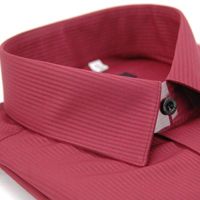 金‧安德森 酒紅色暗紋類絲質窄版長袖襯衫