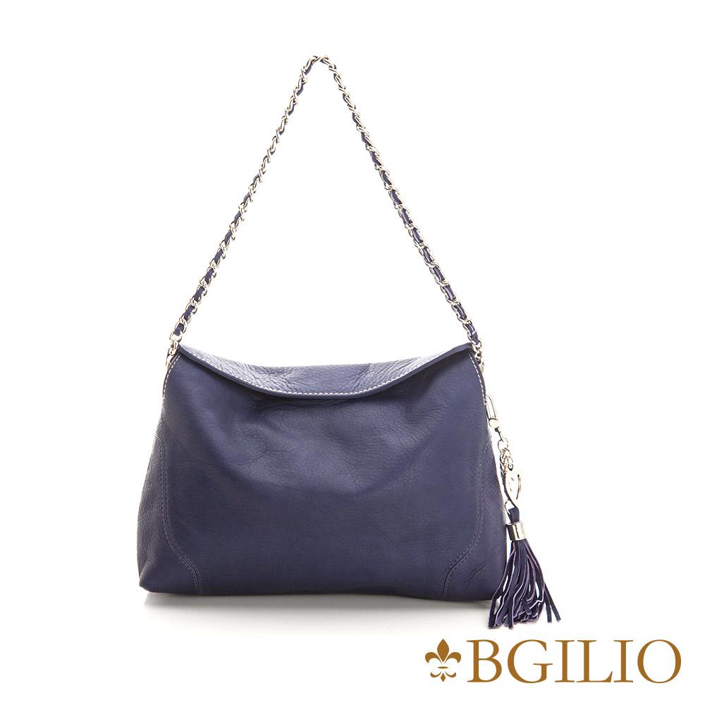 義大利BGilio-義大利水染牛皮優雅鏈帶肩斜背包-藍紫色 2257.001-09B