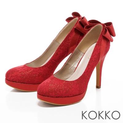 KOKKO台灣手工-紅毯吸睛璀璨蕾絲高跟鞋-瑪莉紅