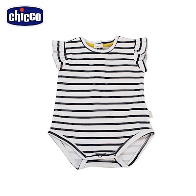 chicco-To Be Baby-荷葉袖條紋連身衣-藍白條(6-24個月)