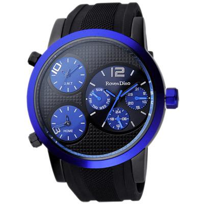 Roven Dino羅梵迪諾 電光之戰三時區全日曆個性腕錶-黑x藍框/47mm