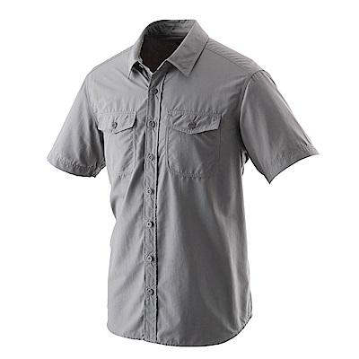 【Wildland 荒野】男排汗抗UV短袖襯衫中灰