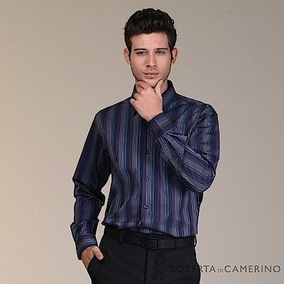 ROBERTA諾貝達 進口素材 台灣製 純棉繽紛彩條長袖襯衫 藍紫