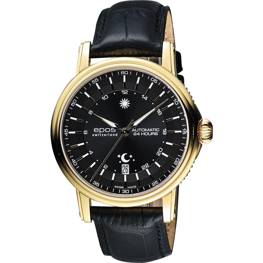 epos 旗鑑典藏太陽之神機械腕錶-黑x金框/42mm