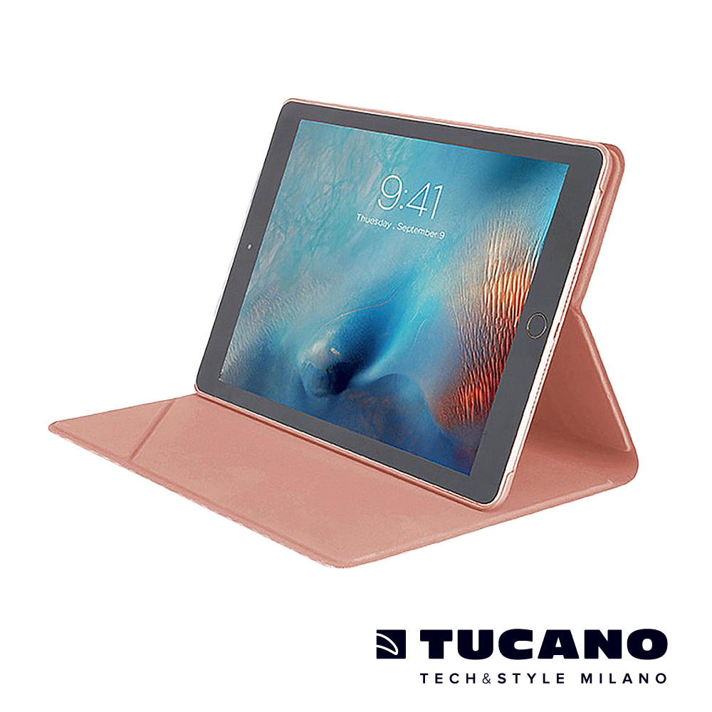 TUCANO iPad Pro 10.5吋髮絲紋可站立式保護套-玫瑰金