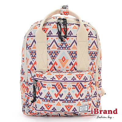 iBrand 學院風防潑水印花潮流手提後背包-幾何