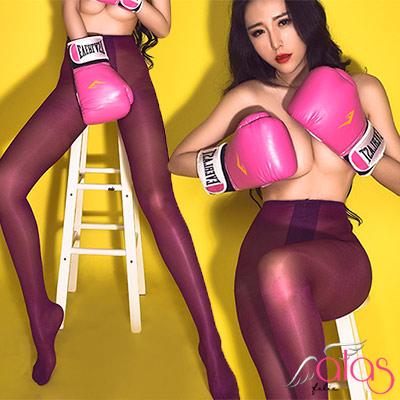 褲襪 T字開襠美色透膚油亮絲襪 (紫色) alas