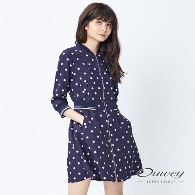 OUWEY歐薇 休閒水玉印花外套洋裝(藍)