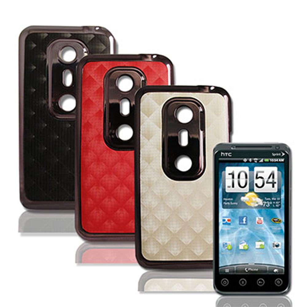 HTC EVO 3D 手機電鍍背蓋-時尚菱格紋系列