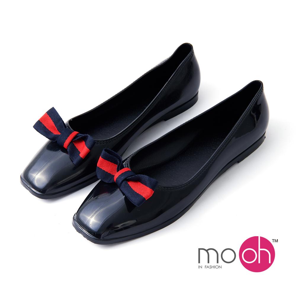 mo.oh 愛雨天-方頭蝴蝶結套腳雨鞋娃娃鞋-黑色