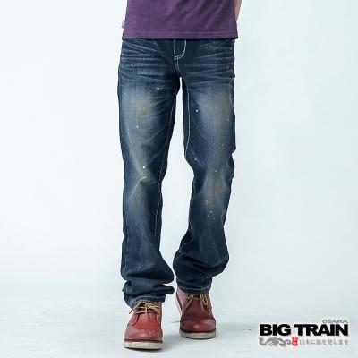 BIG TRAIN BT街頭小直筒褲-男-中藍