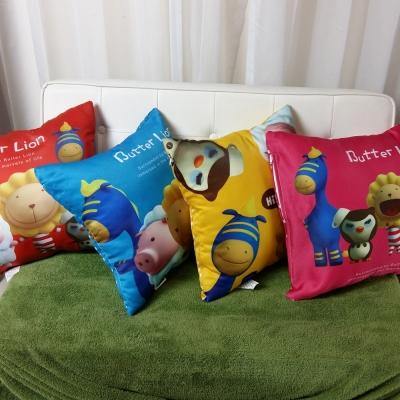 奶油獅-總動員系列-台灣製造專利全彩立體印刷方形抱枕-四入