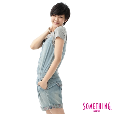 SOMETHING-打摺連身短褲-女款-拔洗藍