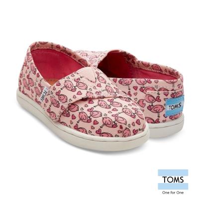 TOMS 愛心鳥帆布懶人鞋-幼童款
