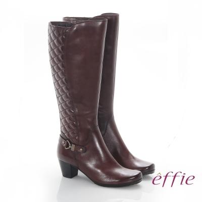 effie 魅力時尚 真皮後側拼接菱格中跟長靴 咖啡