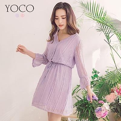 東京著衣-yoco 浪漫氛圍細緻蕾絲V領綁帶洋裝-S.M.L(共二色)