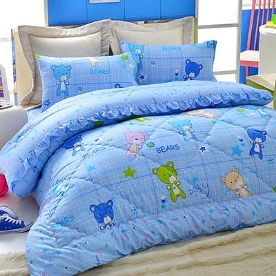 Goelia   熊熊滿屋 精梳純棉立體壓花加大鋪棉兩用被套床包四件組