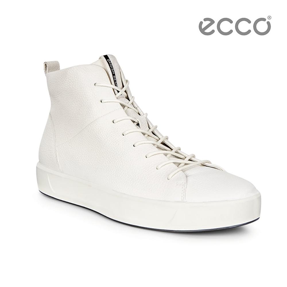 ECCO SOFT 8 MEN'S 簡約高筒休閒鞋-白